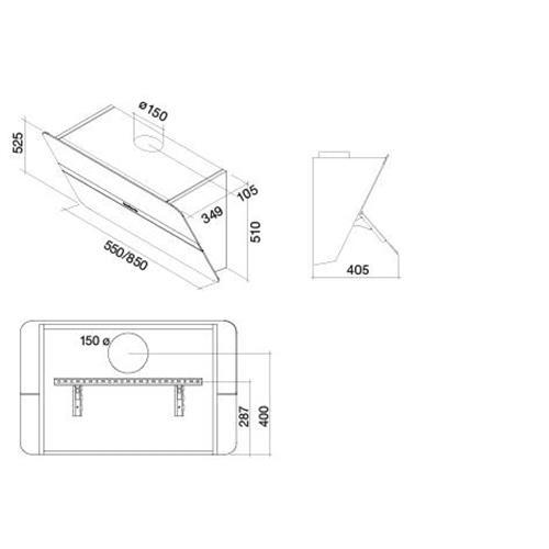 cfpn55 e0p2 zzzf491f hotte falmec flipper murale 55 blanc bross 800 m h falmec hottes. Black Bedroom Furniture Sets. Home Design Ideas